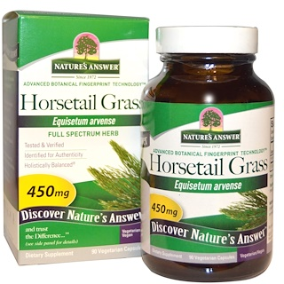 Nature's Answer, Hierba cola de caballo, 450 mg, 90 cápsulas de vegetales