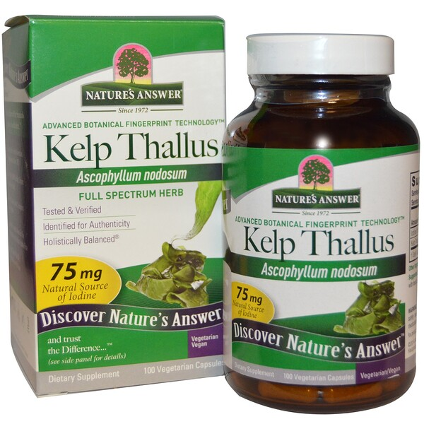 Nature's Answer, Kelp Thallus, 100 Veggie Capsules