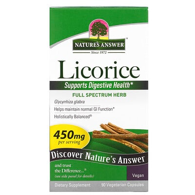 Nature's Answer Licorice, 450 mg, 90 Vegetarian Capsules
