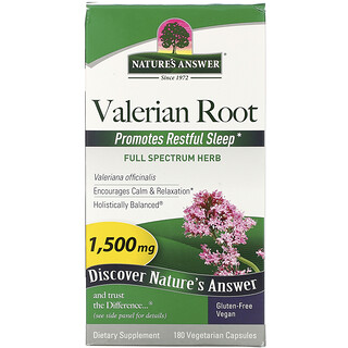 Nature's Answer, Valerian Root, 1,500 mcg, 180 Vegetarian Capsules