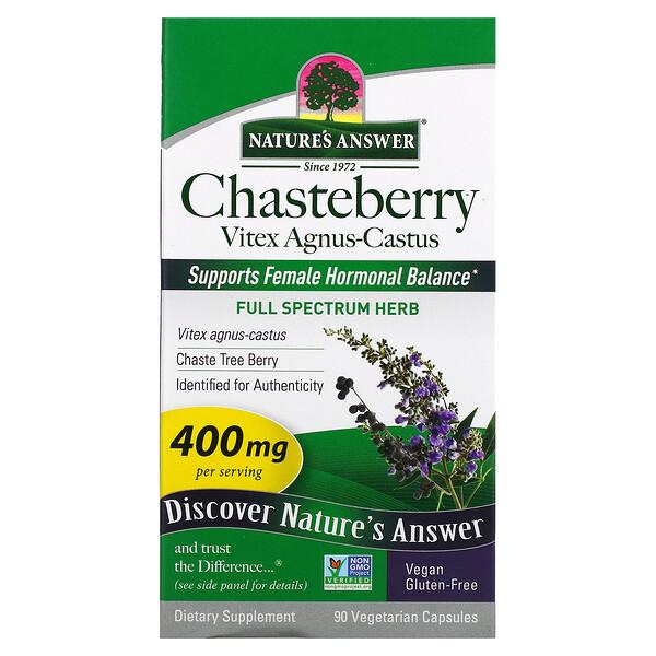 Chasteberry, Vitex Agnus-Castus, 400 mg, 90 Vegetarian Capsules