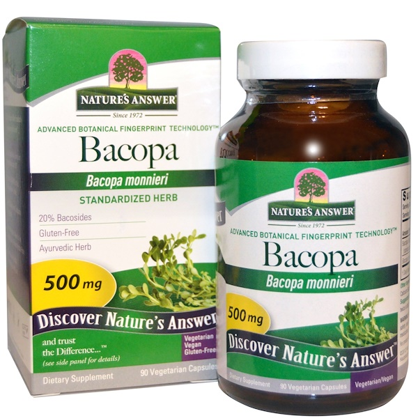 Nature's Answer, Bacopa, 500 mg, 90 Cápsulas Vegetais