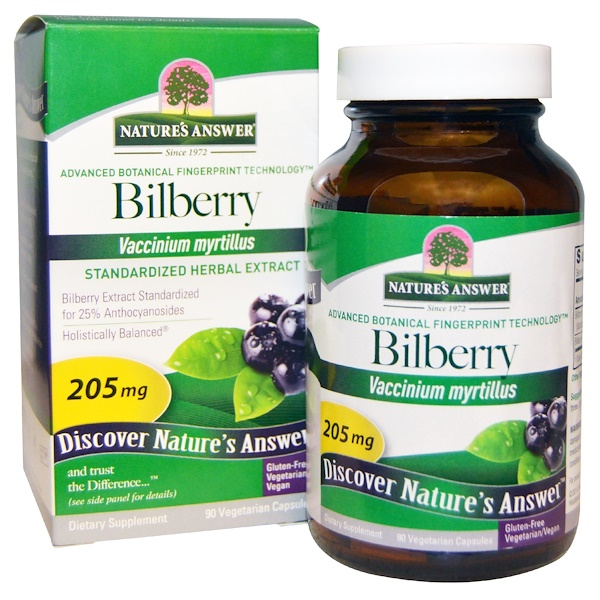 Bilberry, Standardized Herbal Extract, 205 mg, 90 Vegetarian Capsules