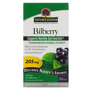 Натурес Ансвер, Bilberry, Standardized Herbal Extract, 205 mg, 90 Vegetarian Capsules отзывы