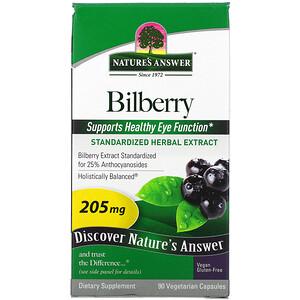 Натурес Ансвер, Bilberry, Standardized Herbal Extract, 205 mg, 90 Vegetarian Capsules отзывы покупателей