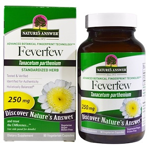 Натурес Ансвер, Feverfew, Standardized Herb, 250 mg, 90 Vegetarian Capsules отзывы