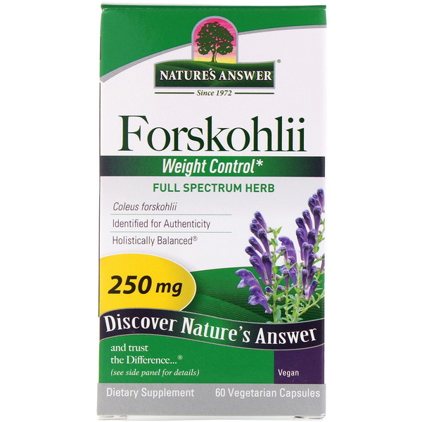 Nature's Answer, Forskohlii, 250 mg, 60 cápsulas vegetais