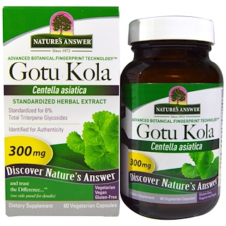 Nature's Answer, Gotu Kola, Extrato Herbal Padronizado, 300 mg, 60 Cápsulas Vegetais