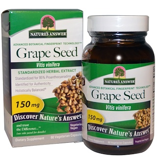 Nature's Answer, Grape Seed, Standardized Herbal Extract, 150 mg, 60 Vegetarian Capsules