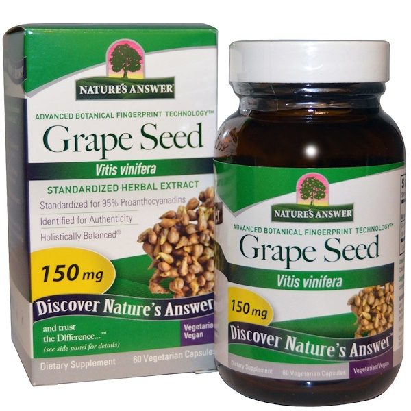 Nature's Answer, Grape Seed, Standardized Herbal Extract, 150 mg, 60 Vegetarian Capsules (Discontinued Item)