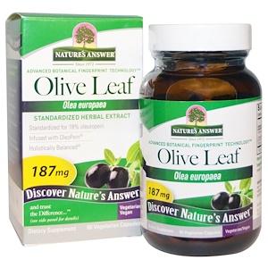 Натурес Ансвер, Olive Leaf, Standardized Herbal Extract, 187 mg, 60 Vegetarian Capsules отзывы