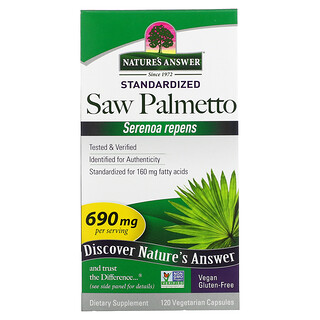 Nature's Answer, Saw Palmetto, Standardized, 690 mg, 120 Vegetarian Capsules