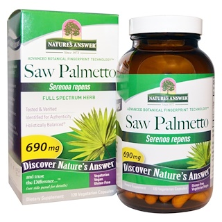 Nature's Answer, Saw Palmetto, Full Spectrum Herb, 690 mg, 120 Cápsulas Vegetales