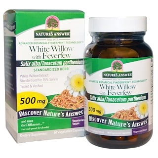 Nature's Answer, Weiße Weide mit Mutterkraut, 500 mg, 60 vegetarische Kapselm