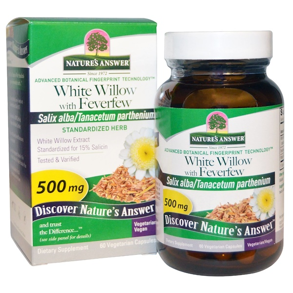 Nature's Answer, Sauce Blanco con Matricaria 500 mg, 60 Capsulas Vegetales