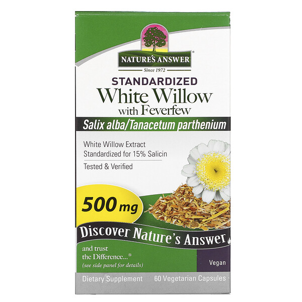 White Willow with Feverfew, 500 mg, 60 Vegetarian Capsules