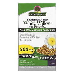 Натурес Ансвер, White Willow with Feverfew, 500 mg, 60 Vegetarian Capsules отзывы покупателей