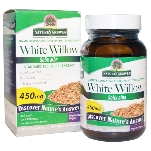 Nature's Answer, White Willow, Standardized Herbal Extract, 450 mg, 60 Vegetarian Capsules (Discontinued Item)