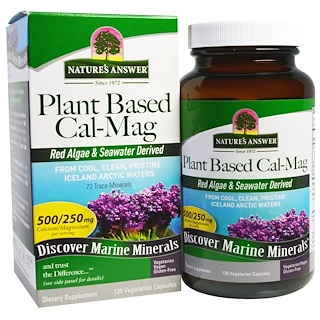 Nature's Answer, Plant Based Cal-Mag, 500/250 mg, 120 Vegetarian Capsules