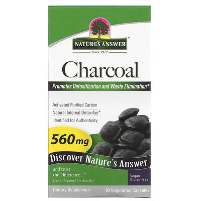 Natures Answer активированный уголь, активированный очищенный уголь, 560мг, 90растительных капсул