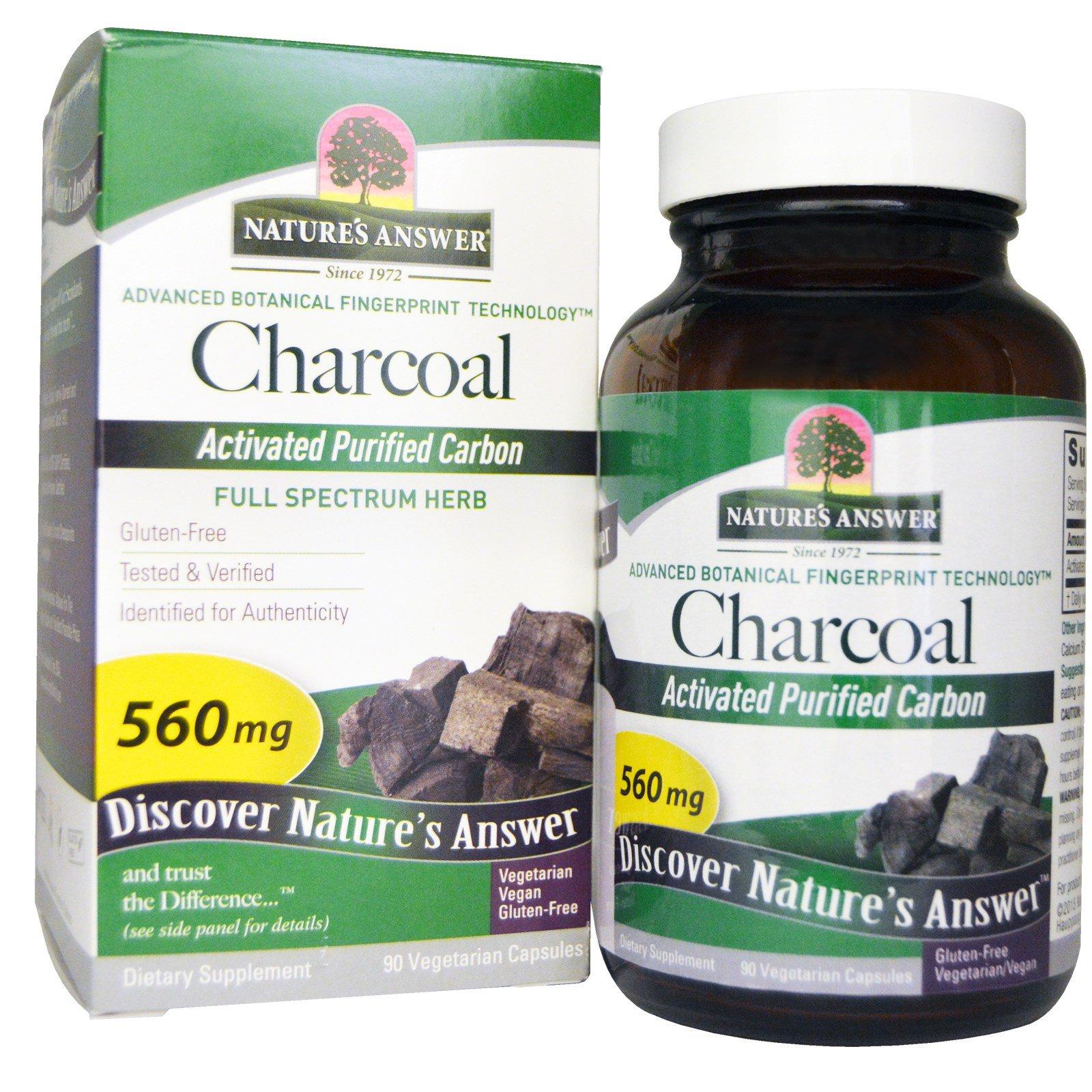 Nature's Answer, Charcoal, Активированный очищенный уголь, 560 мг, 90 растительных капсул