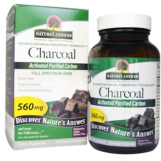 Nature's Answer, Charcoal, Activated Purified Carbon, 560 mg, 90 Vegetarian Capsules