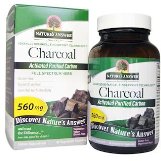 Nature's Answer, 木炭, 活性炭精製カーボン, 560 mg, ベジカプセル 90 錠