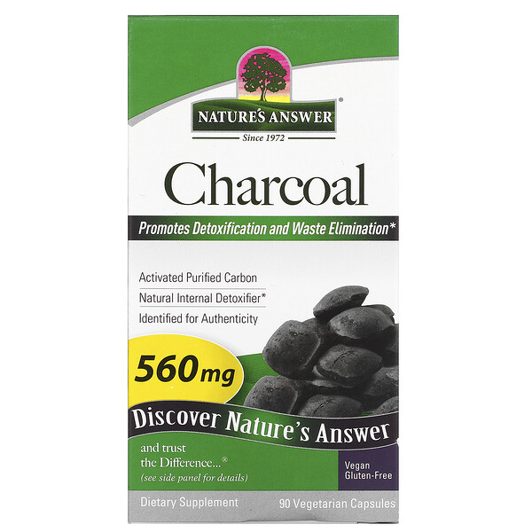 Charcoal, Activated Purified Carbon, 560 mg, 90 Vegetable Capsules