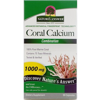 Nature's Answer, Coral Calcium, Combination, 1000 mg, 90 Capsules
