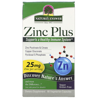 Nature's Answer Zinc Plus, 25 mg, 60 Vegetarian Capsules
