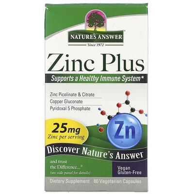 Купить Nature's Answer Zinc Plus, 25 mg, 60 Vegetarian Capsules