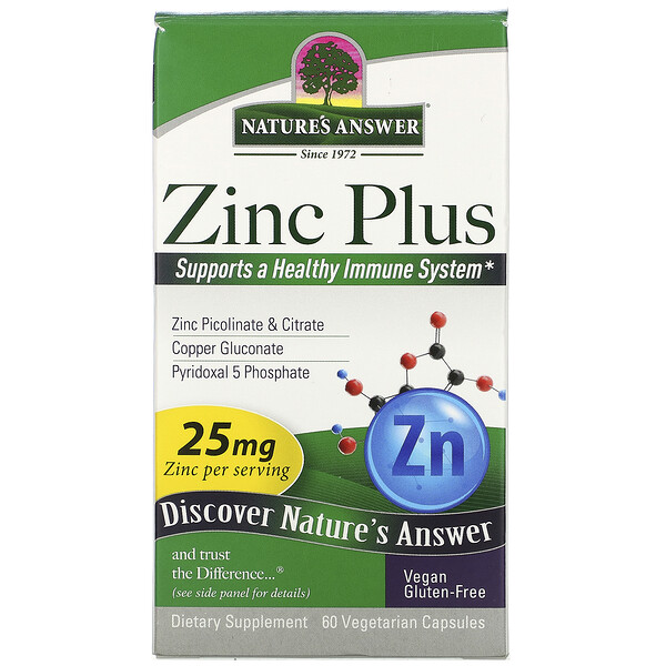 Zinc Plus, 25 mg, 60 Vegetarian Capsules