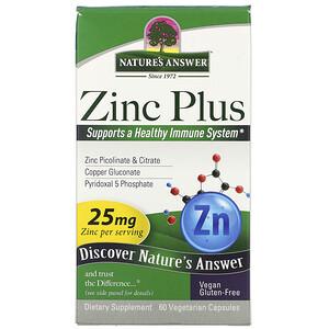 Натурес Ансвер, Zinc Plus, 25 mg, 60 Vegetarian Capsules отзывы