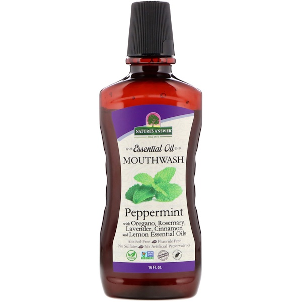 Nature's Answer, Enjuague oral con aceites esenciales, hierbabuena, 16 fl. Oz