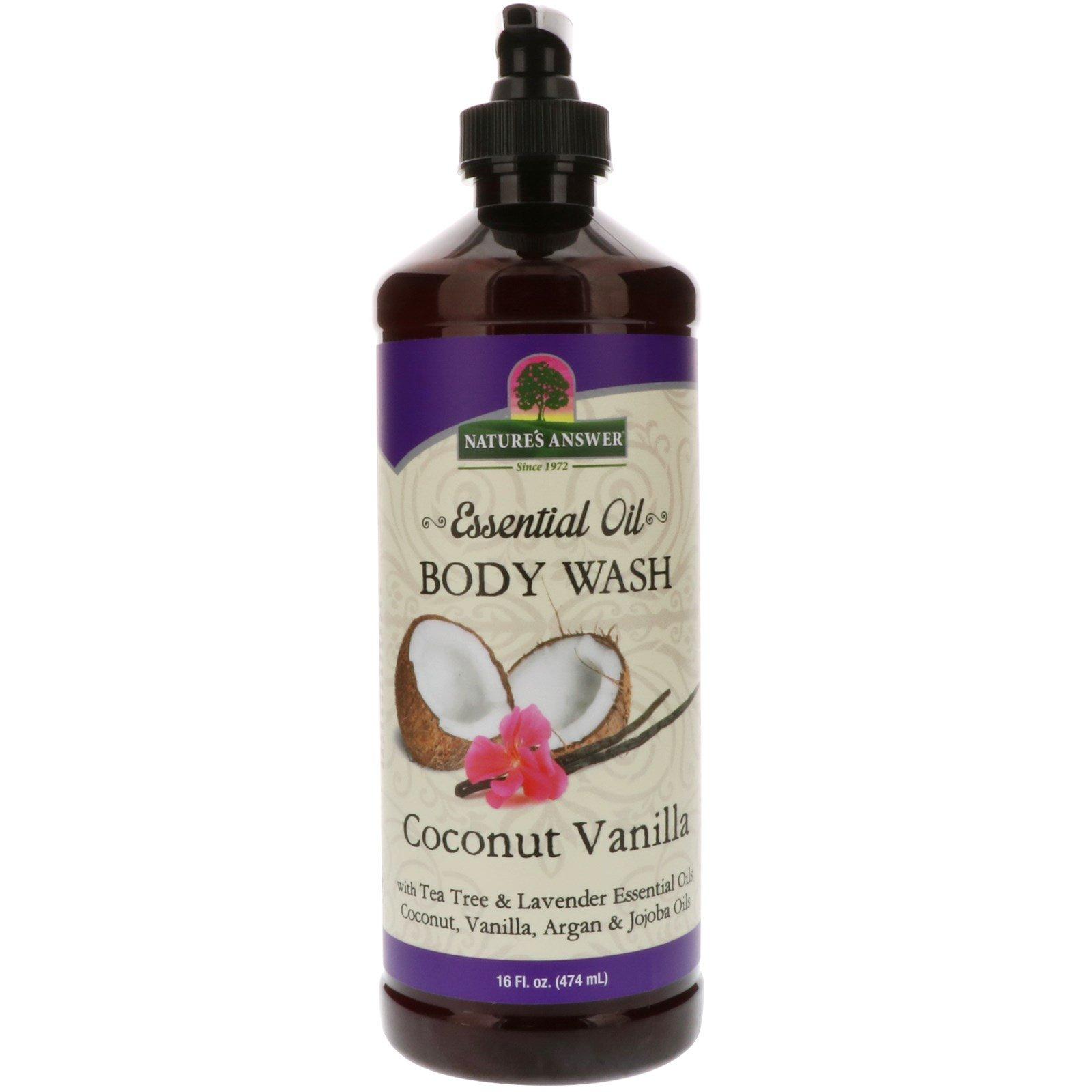 Nature's Answer, Эфирное масло, средство для мойки тела, кокос и ваниль, 474 мл (16 жидк. унц.)