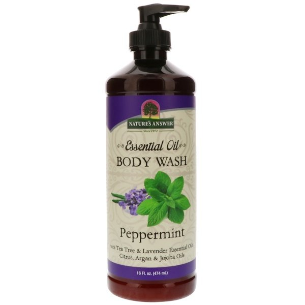 Nature's Answer, Body Wash - Essential Oil, Peppermint, 16 Fl oz (474 ml)