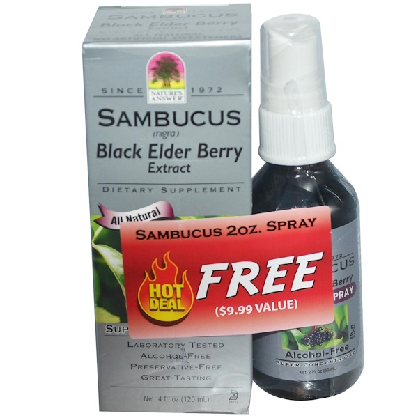 Nature's Answer, Sambucus Black Elder Berry Extract, 4 fl oz (120 ml) (Discontinued Item)