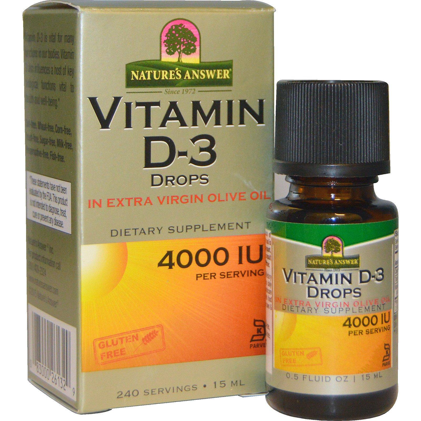 Natures Answer Vitamin D 3 Drops 4000 Iu 05 Fl Oz 15 Ml