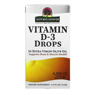 Nature's Answer, Gouttes de vitamineD3, 100µg (4000UI), 15ml