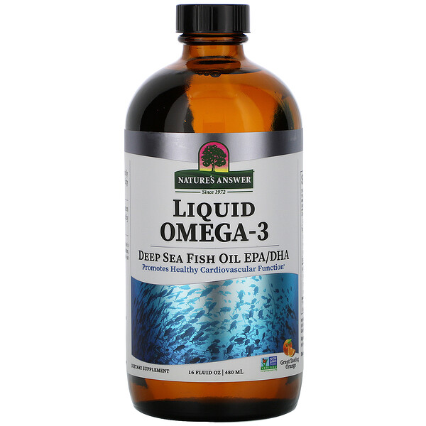 Liquid Omega-3, Deep Sea Fish Oil EPA/DHA, Orange Flavor, 16 fl oz (480 ml)