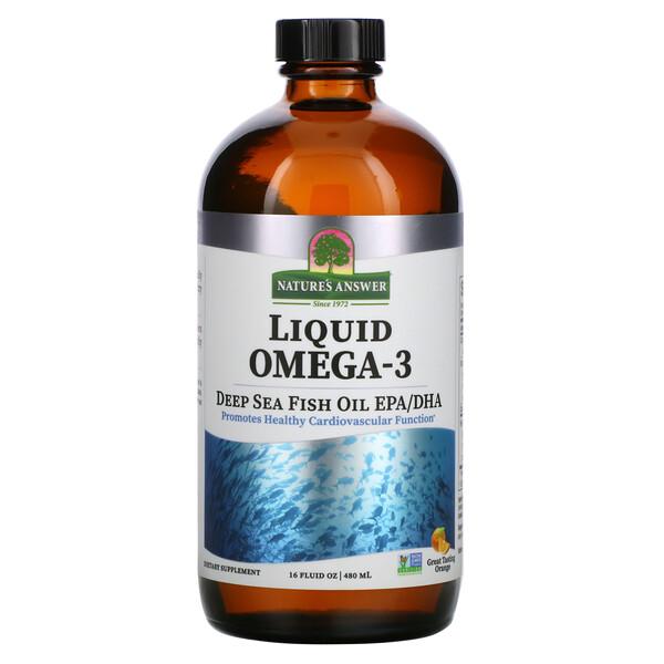 Liquid Omega-3, Deep Sea Fish Oil EPA/DHA, Orange Flavor, 16 fl oz (480 ml)