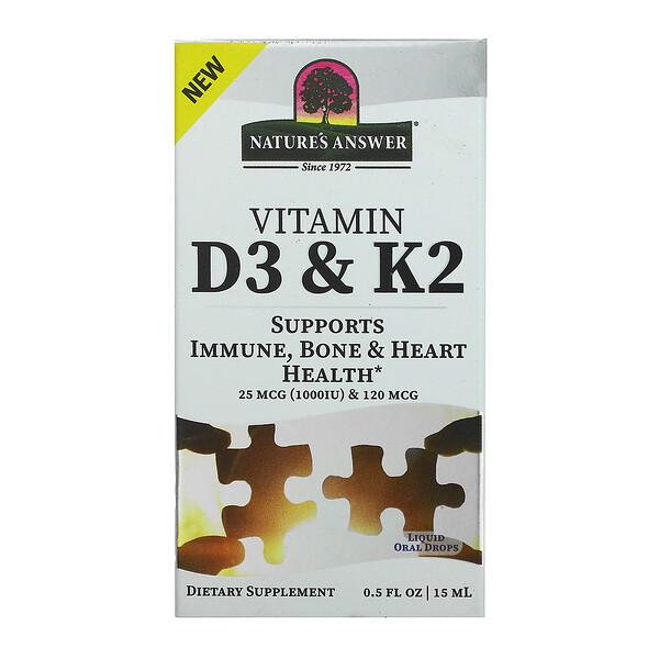 Vitamin D3 & K2, 25 mcg (1,000 IU) & 120 mcg, 0.5 fl oz (15 ml)