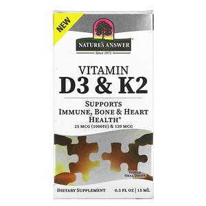 Nature's Answer, Vitamin D3 & K2, 25 mcg (1,000 IU) & 120 mcg, 0.5 fl oz (15 ml)