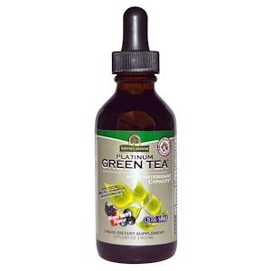 Nature's Answer, Зеленый чай Platinum Green Tea, с высоким содержанием антиоксидантов, вкус ягодной смеси, 2 жидких унции (60 мл)