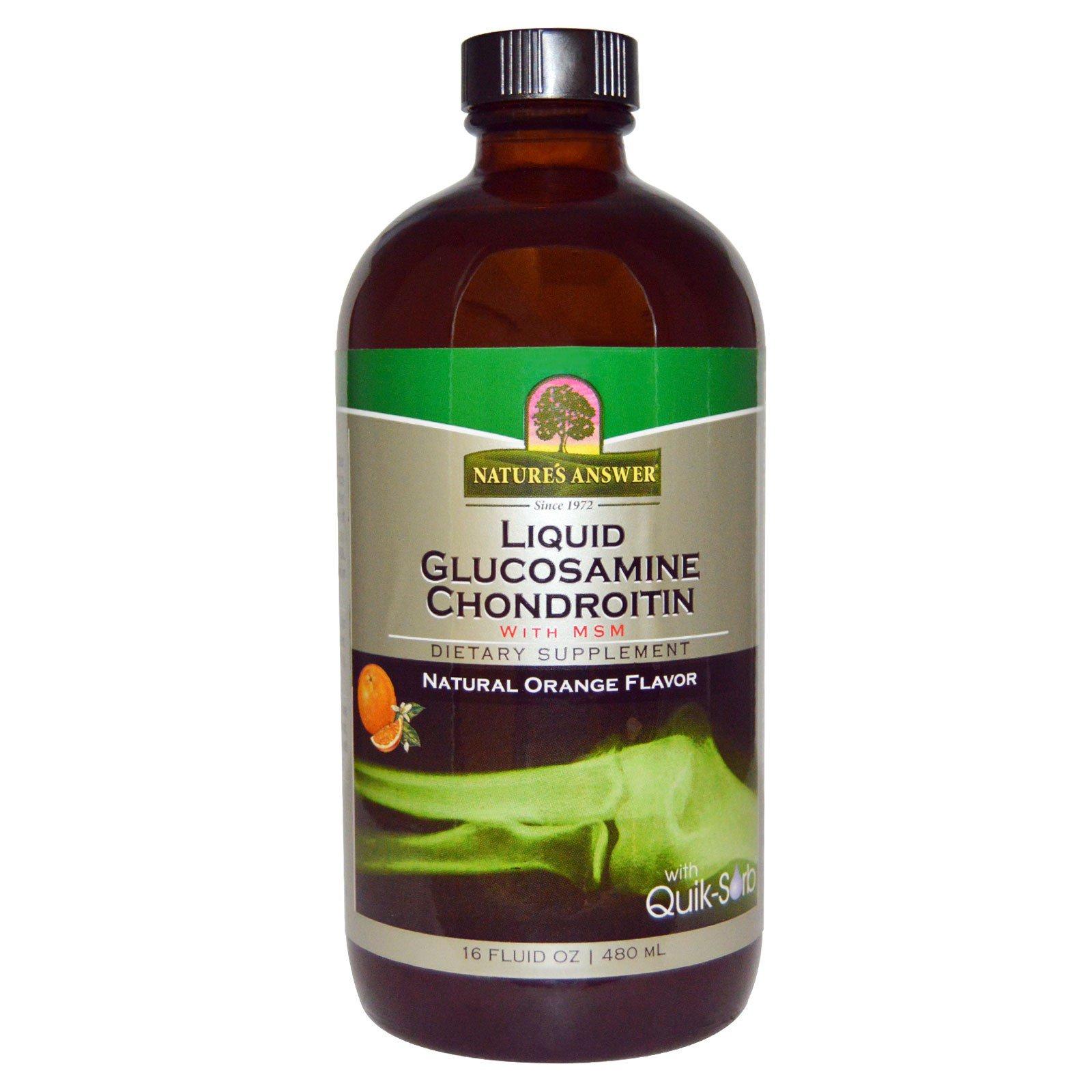 Nature's Answer, Комплекс с глюкозамином и хондроитином с МСМ в жидкой форме, натуральный апельсиновый вкус, 16 жидких унций (480 мл)