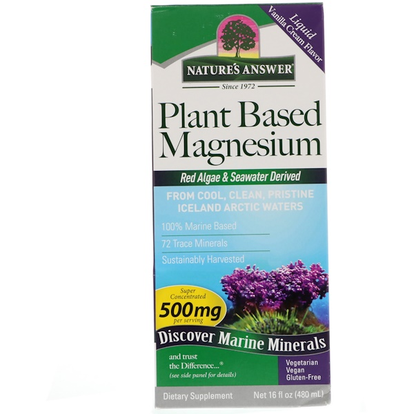 Nature's Answer, Plant Based Magnesium, Vanilla Cream Flavor, 500 mg, 16 fl oz (480 ml)