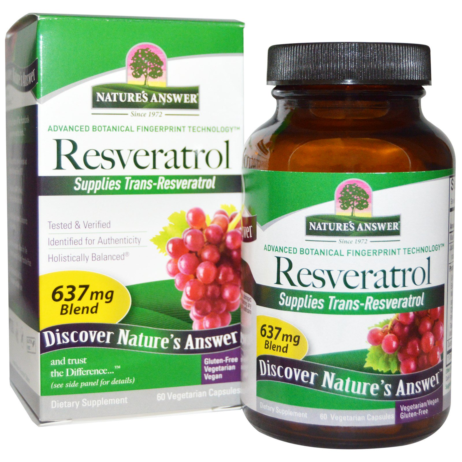 Nature's Answer, Resveratrol, 637 мг, 60 вегетарианских капсул