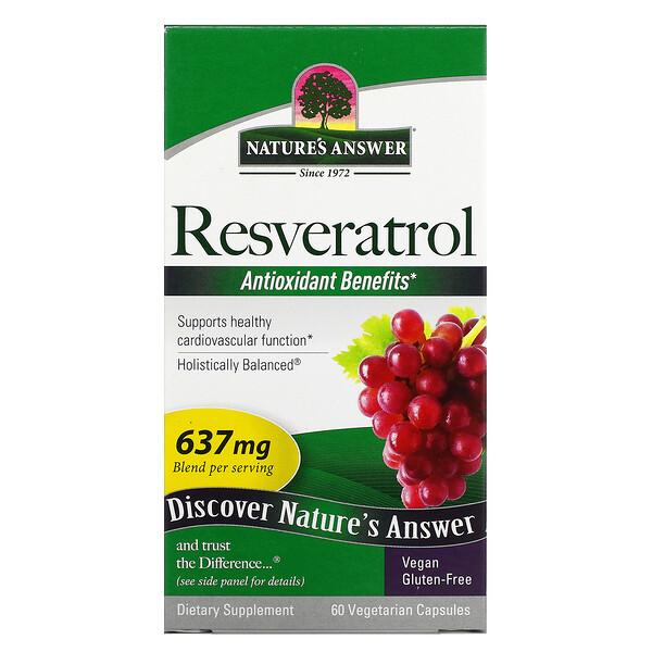 Resveratrol, 637 mg, 60 Vegetarian Capsules