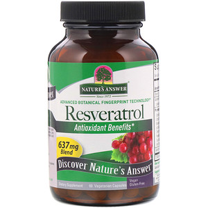Натурес Ансвер, Resveratrol, 637 mg, 60 Vegetarian Capsules отзывы