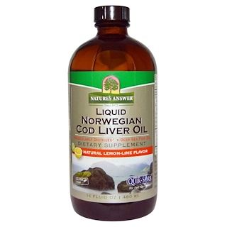 Nature's Answer, Liquid Norwegian Cod Liver Oil, Natural Lemon-Lime Flavor, 16 fl oz (480 ml)